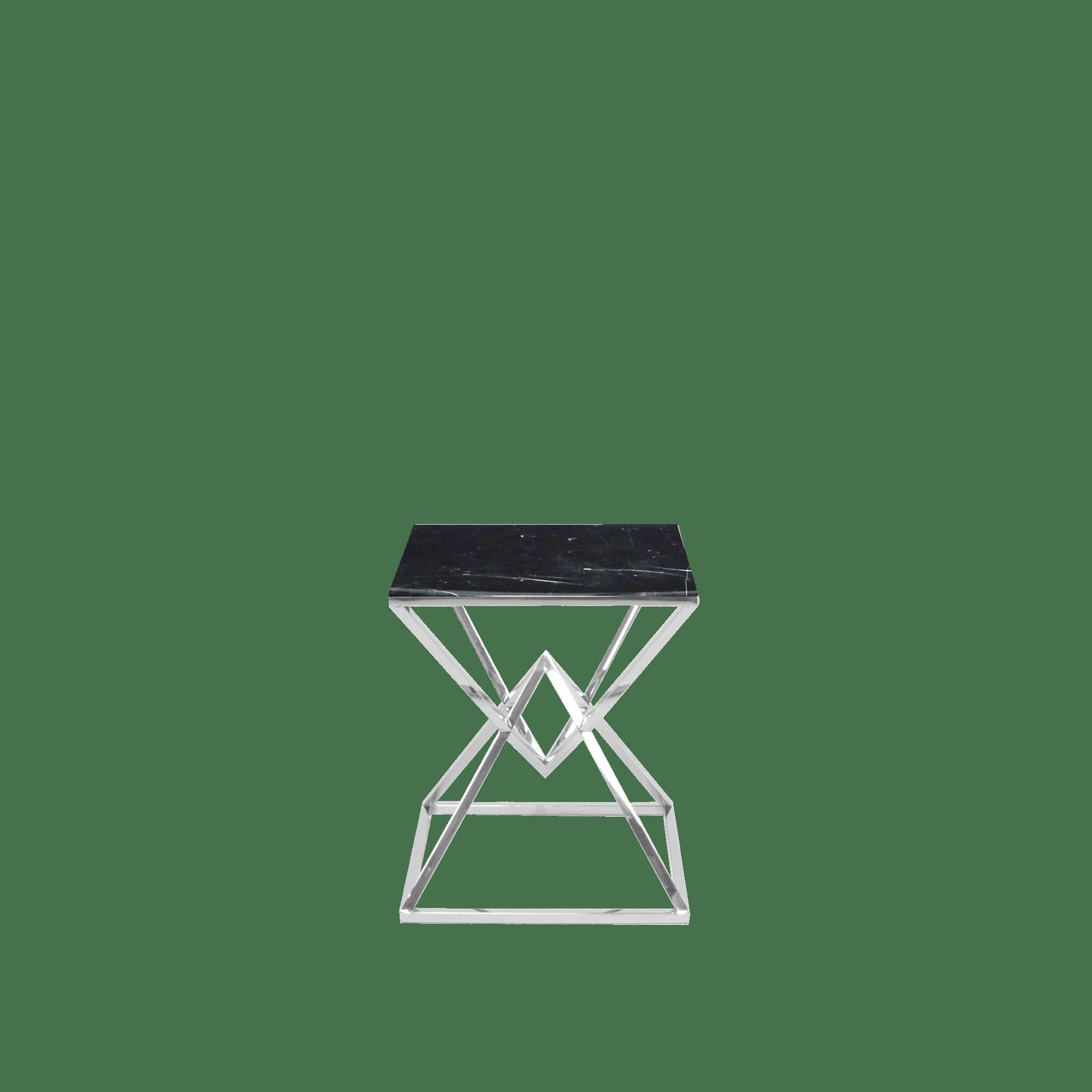 Xavier Rectangular Marble Side Table Black Marquina